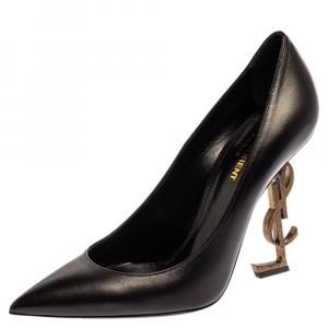 Saint Laurent Paris Black Leather Opyum Pointed Toe Pumps Size 39