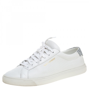 Saint Laurent White Perforated Leather Glitter Andy Low Top Sneakers Size 38