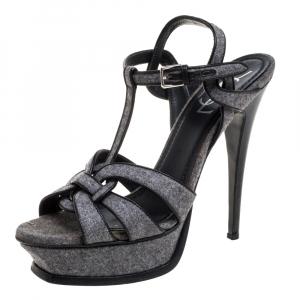Saint Laurent Paris Grey Tweed Fabric Tribute Sandals Size 38 - used