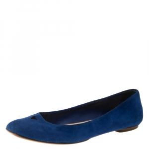 Saint Laurent Blue Suede Marine Love Ballet Flats Size 36.5