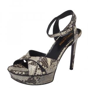 Saint Laurent Paris Black/Beige Python Embossed Leather Bianca Platform Sandals Size 38
