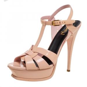 Saint Laurent Paris Beige Patent Leather Tribute Platform Sandals Size 40