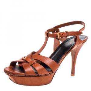 Saint Laurent Paris Brown Leather Tribute Platform Sandals Size 39