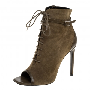 Saint Laurent Paris Olive Green Suede And Leather Open Toe Ankle Booties Size 38