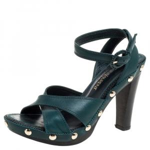 Saint Laurent Paris Green Leather Ankle Wrap Platform Sandals Size 35