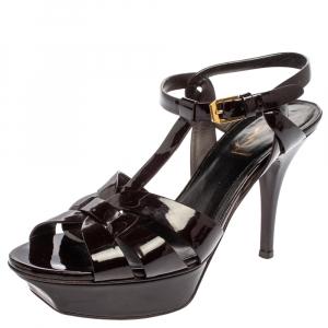 Saint Laurent Paris Burgundy Patent Leather Tribute Sandals Size 38