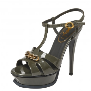 Saint Laurent Paris Olive Patent Leather Tribute Platform Sandals Size 36