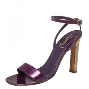 Saint Laurent Purple Textured Patent Leather Cork Heel Ankle Wrap Sandals Size 37.5 - used