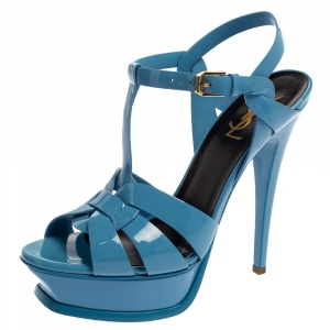 Saint Laurent Blue Patent Leather Tribute Platfrom Sandals Size 38 - used
