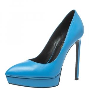 حذاء كعب عالى سان لوران نعل سميك مقدمة مدببة غانيس جلد أزرق مقاس 37