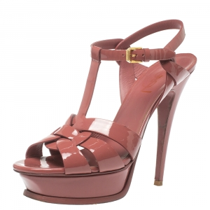 Saint Laurent Antique Pink Patent Leather Tribute  Platform Sandals Size 38.5