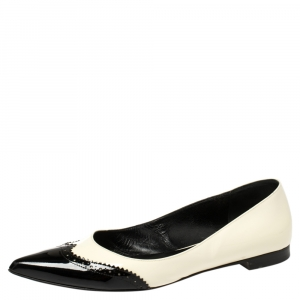 Saint Laurent White/Black Brogue Patent Leather Paris Pointed Toe Flats Size 40.5 - used