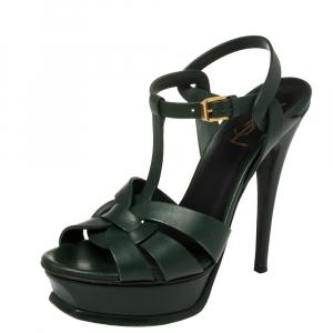 Saint Laurent Dark Green Leather Tribute Sandals Size 37.5 - used