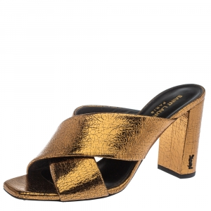 Saint Laurent Paris Gold Leather Loulou Criss Cross Mules Size 37.5
