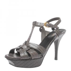 Saint Laurent Lizard Embossed Leather Tribute Sandals Size 37.5 - used