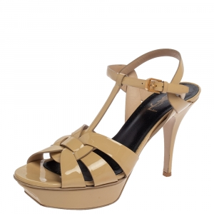 Saint Laurent Beige Patent Leather Tribute Sandals Size 40 - used