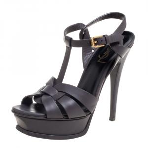 Saint Laurent Grey Leather Tribute Platform Ankle Strap Sandals Size 36.5 - used