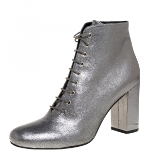 Saint Laurent Metallic Silver Leather Lace Up Boots Size 41 - used