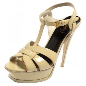 Saint Laurent Cream Patent Leather Tribute Platform Sandals Size 39