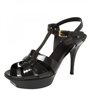 Saint Laurent Dark Grey Patent Leather Tribute Platform Ankle Strap Sandals Size 38 - used