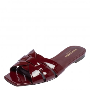 Saint Laurent Burgundy Patent Leather Tribute Flat Slides Size 38.5