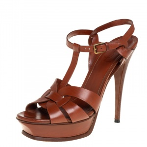 Saint Laurent Brown Leather Tribute  Sandals Size 40.5