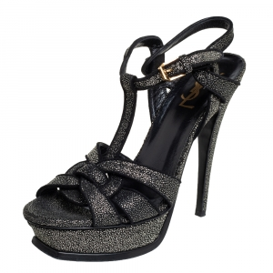 Saint Laurent Black Glitter Tribute Platform Sandals Size 38.5