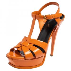 Saint Laurent Orange Patent Leather Tribute Sandals Size 38.5