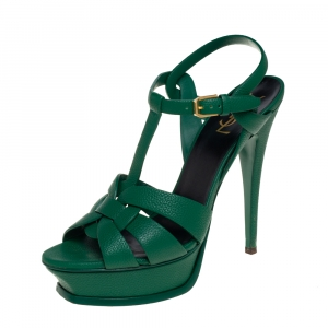 Saint Laurent Green Leather Tribute Platform Sandals Size 39