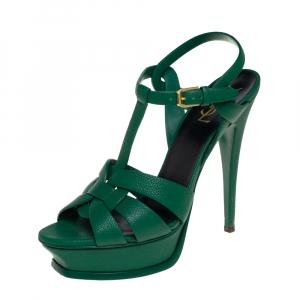 Saint Laurent Green Leather Tribute Platform Sandals Size 39