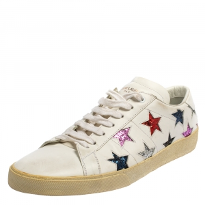 Saint Laurent White Leather And Glitter Court Classic California Low Top Sneakers Size 44