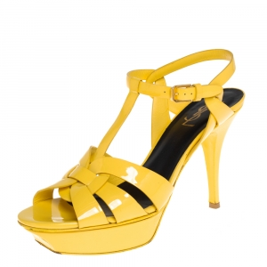 Saint Laurent Yellow Patent Leather Tribute Sandals Size 40