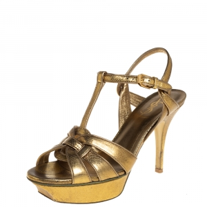 Saint Laurent Gold Leather Tribute Sandals Size 37.5