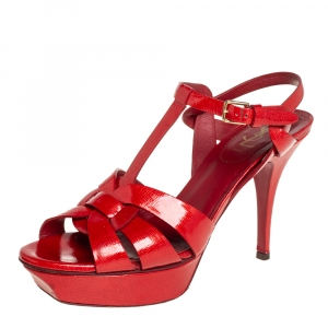 Saint Laurent Red Patent Leather Tribute Sandals Size 39.5