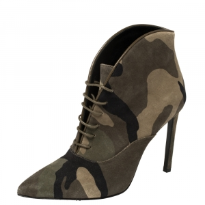 Saint Laurent Multicolor Camo Suede Lace Up Booties Size 35.5