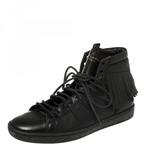 Saint Laurent Black Leather Classic Court Fringe Sneakers Size 36