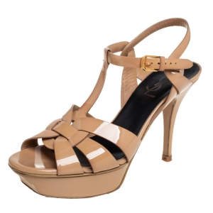 Saint Laurent Beige Patent Leather Tribute Ankle Strap Sandals Size 37