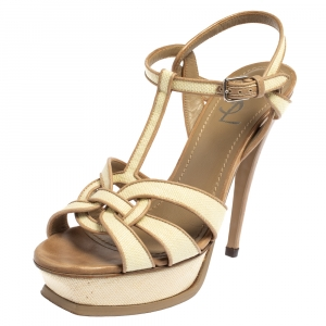 Saint Laurent  Cream Raffia And  Leather Tribute Sandals Size 38.5