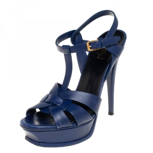 Saint Laurent Navy Blue Leather Tribute Sandals Size 38.5