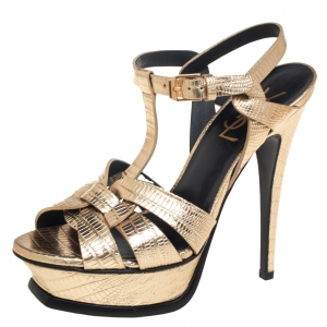 Saint Laurent Gold Lizard Embossed Leather Tribute Platform Ankle Strap Sandals Size 35