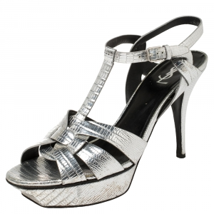 Saint Laurent Silver Croc Embossed Leather Tribute Ankle Strap Sandals Size 42