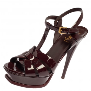 Saint Laurent Burgundy Patent Leather Tribute Sandals Size 38