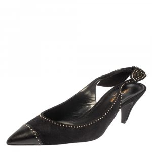 Saint Laurent Black Suede Charlotte Slingback Pumps Size 39