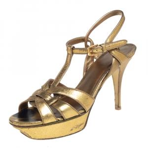 Saint Laurent Paris Gold Textured Leather Tribute Platform Sandals Size 38.5 - used