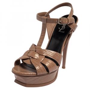Saint Laurent Brown Croc Embossed Leather Tribute Platform Ankle Strap Sandals Size 38 - used