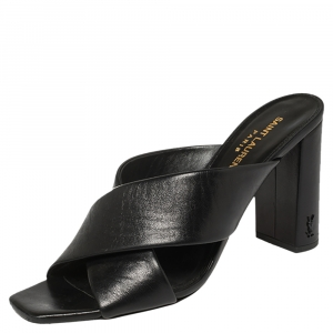 Saint Laurent Black Leather Loulou Criss Cross Mules Size 39.5