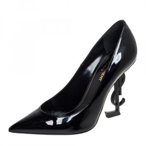 حذاء كعب عالي سان لوران باريس أوبيوم مقدمة مدببة جلد لامع أسود مقاس 38