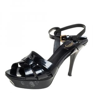 Saint Laurent Black Patent Leather Tribute Sandals Size 38.5 - used
