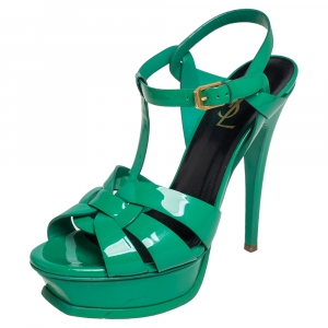 Saint Laurent Green Patent Leather Tribute Sandals Size 37.5 - used