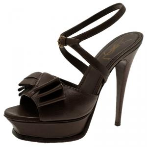 Saint Laurent Paris Brown Leather Y-Bow Platform Sandals Size 38 - used